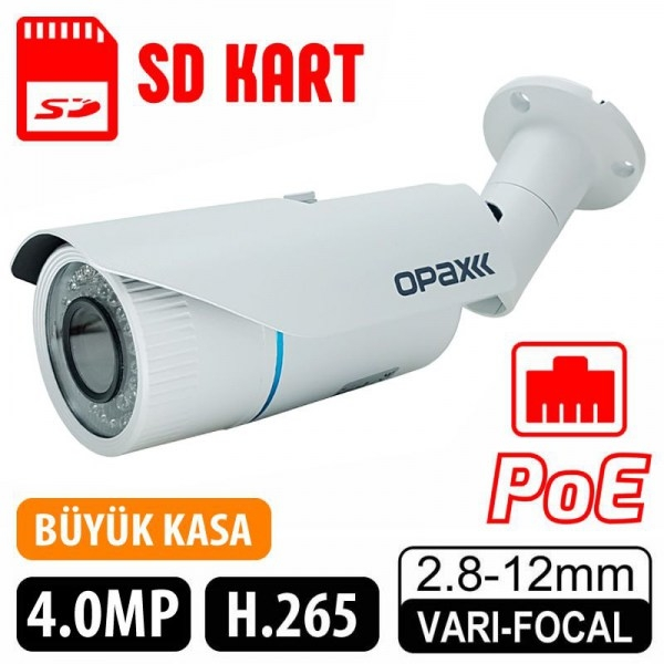 OPAX-2022 4.0 MP H.265 2.8-12MM LENS 42 IR LED POE, SD Kart IP66 METAL KASA IP BULLET